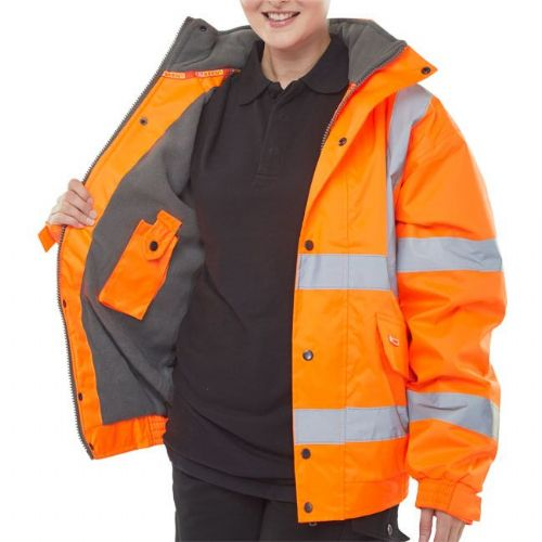 BSeen Hi Vis Orange Fleece Lined Bomber Jacket